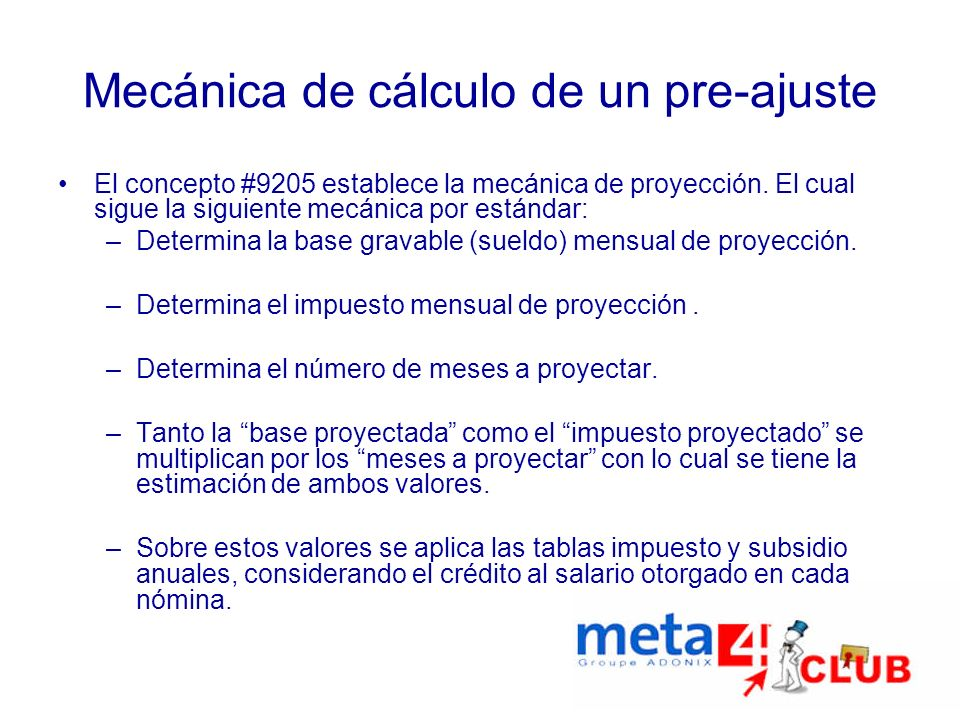 Mecánica de cálculo de un pre-ajuste