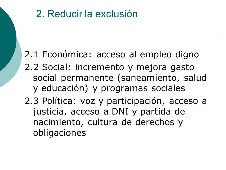 2. Reducir la exclusión 2.1 Económica: acceso al empleo digno