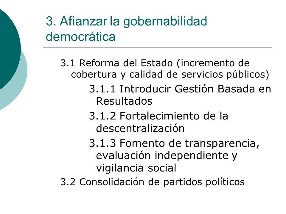 3. Afianzar la gobernabilidad democrática