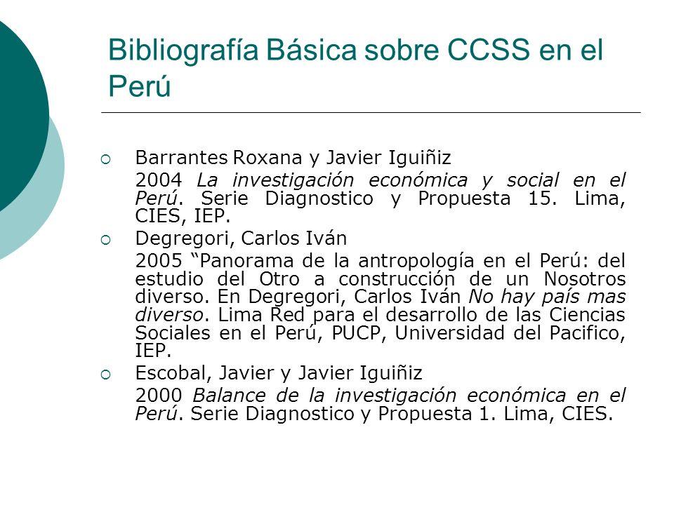 Bibliografía Básica sobre CCSS en el Perú