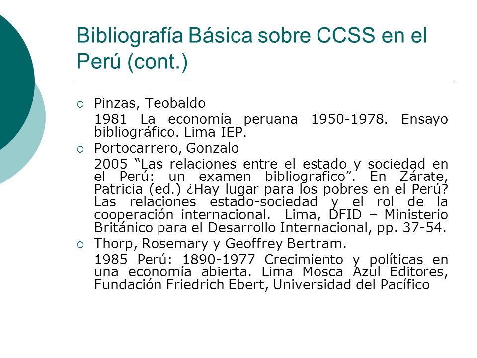 Bibliografía Básica sobre CCSS en el Perú (cont.)