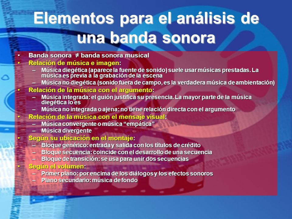 Elementos para el análisis de una banda sonora