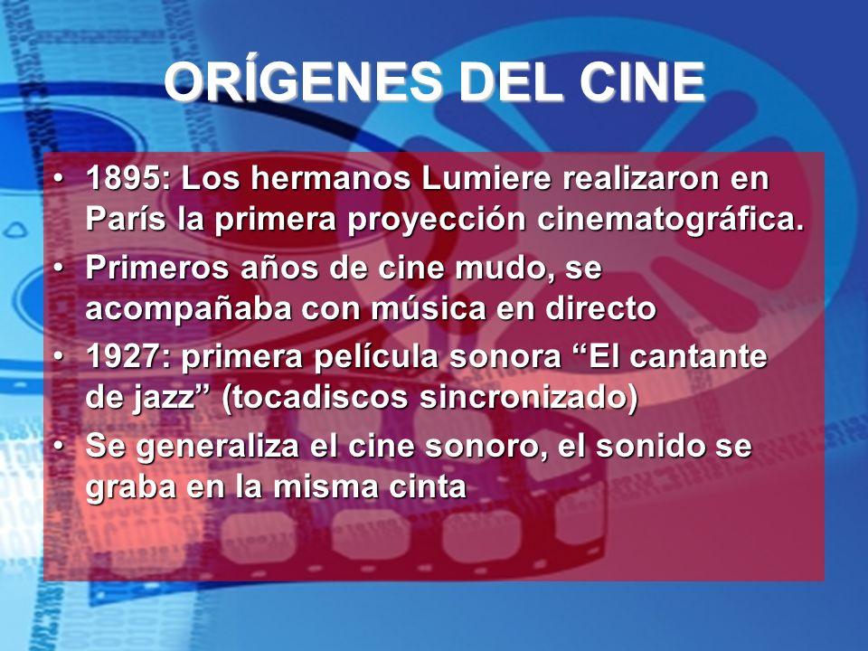 ORÍGENES DEL CINE 1895: Los hermanos Lumiere realizaron en París la primera proyección cinematográfica.