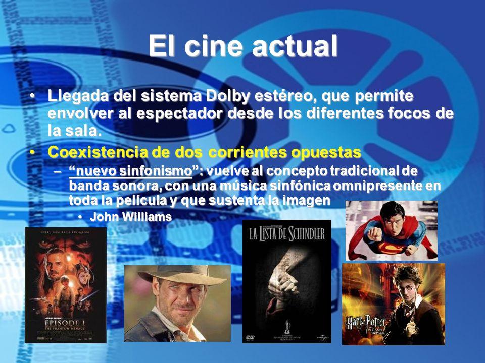 El cine actual Llegada del sistema Dolby estéreo, que permite envolver al espectador desde los diferentes focos de la sala.