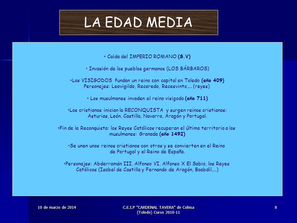 LA EDAD MEDIA Caída del IMPERIO ROMANO (S.V)
