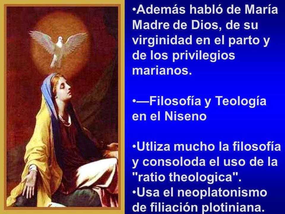 Además habló de María Madre de Dios, de su virginidad en el parto y de los privilegios marianos.