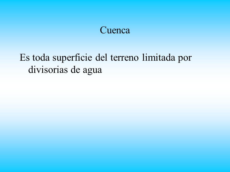 Cuenca Es toda superficie del terreno limitada por divisorias de agua