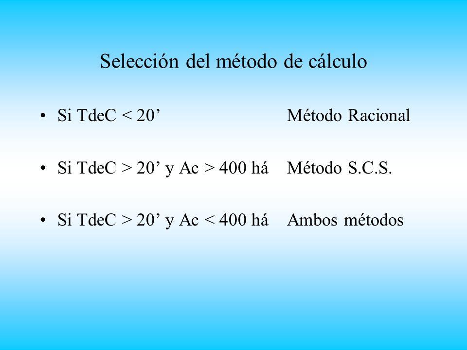 Selección del método de cálculo