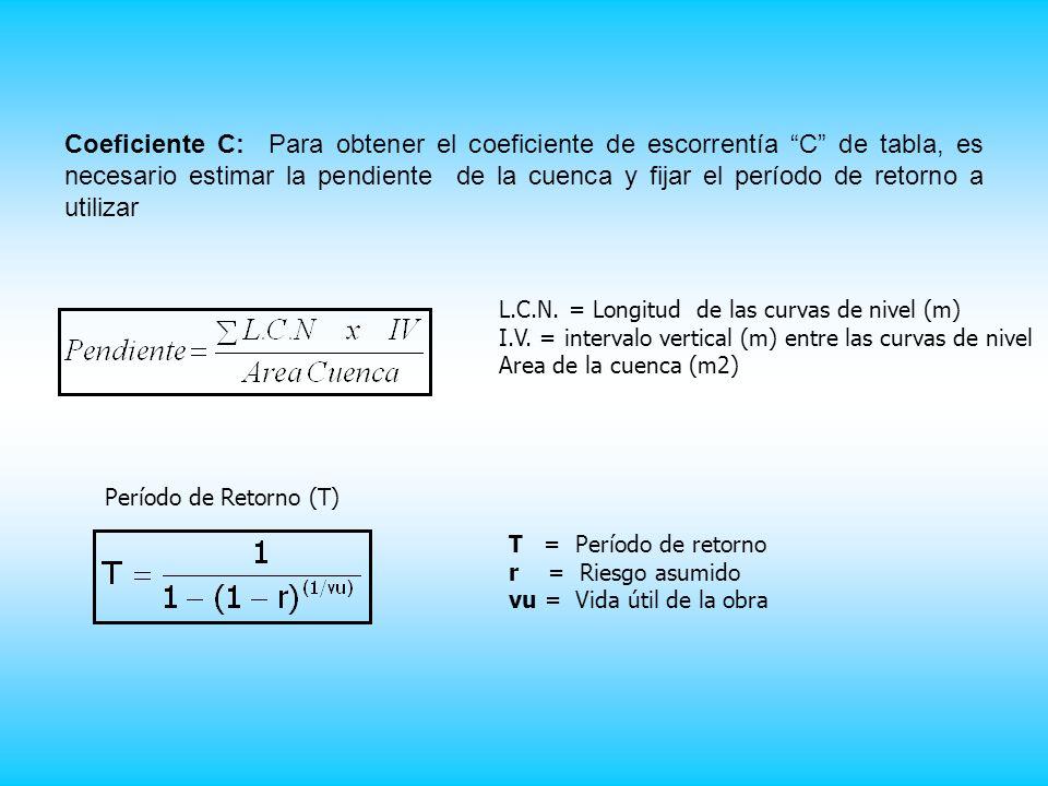 Coeficiente C: Para obtener el coeficiente de escorrentía C de tabla, es necesario estimar la pendiente de la cuenca y fijar el período de retorno a utilizar