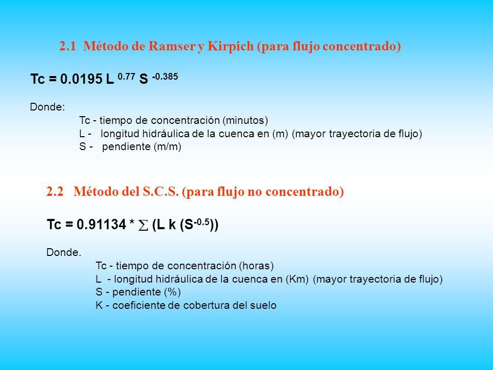 2.1 Método de Ramser y Kirpich (para flujo concentrado)