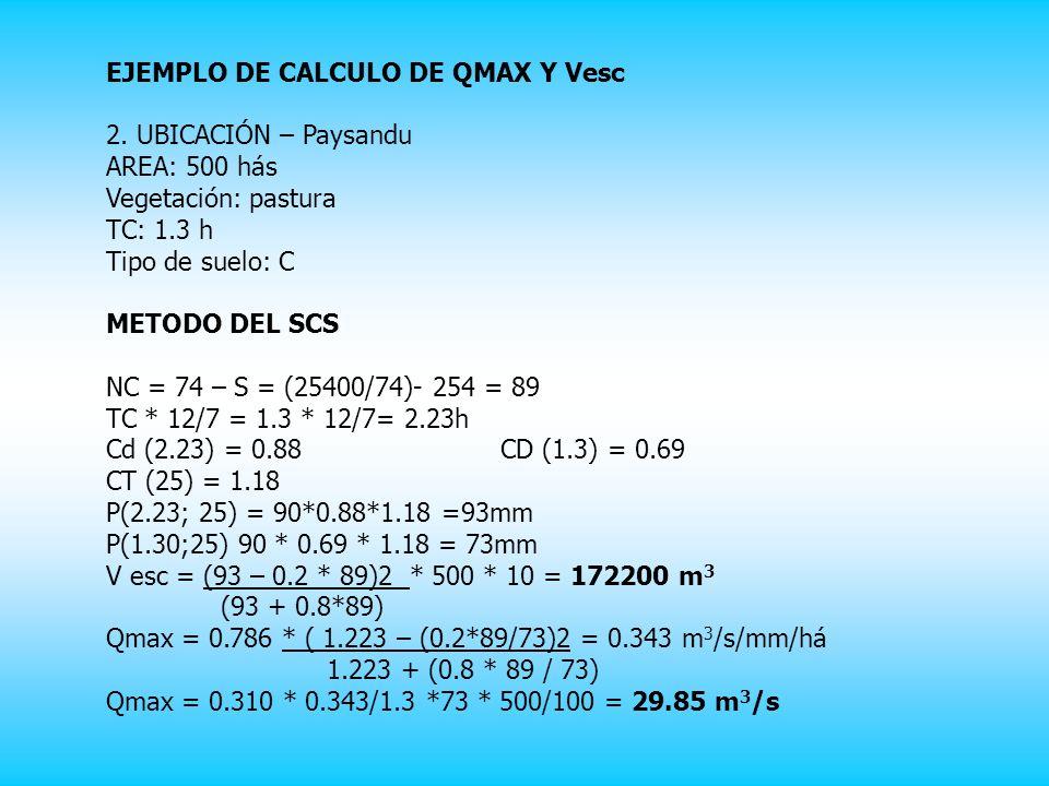 EJEMPLO DE CALCULO DE QMAX Y Vesc