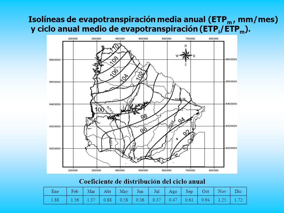 Isolíneas de evapotranspiración media anual (ETPm , mm/mes)