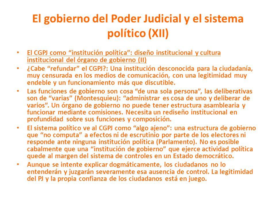 El gobierno del Poder Judicial y el sistema político (XII)