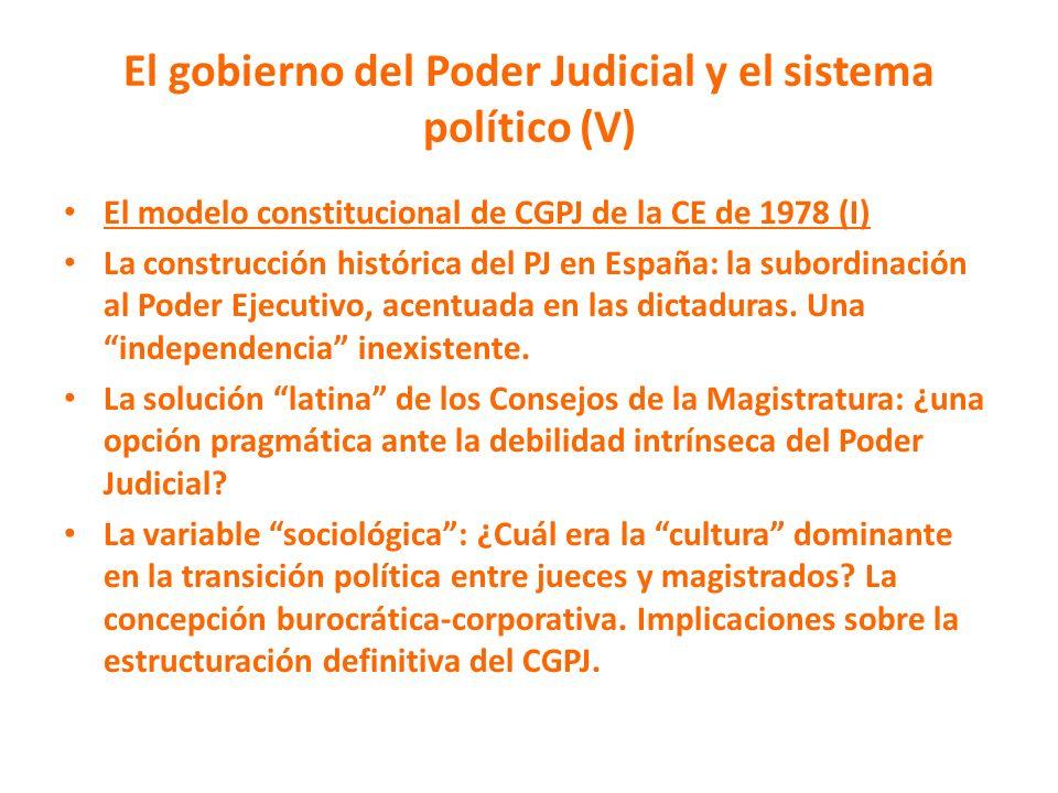 El gobierno del Poder Judicial y el sistema político (V)