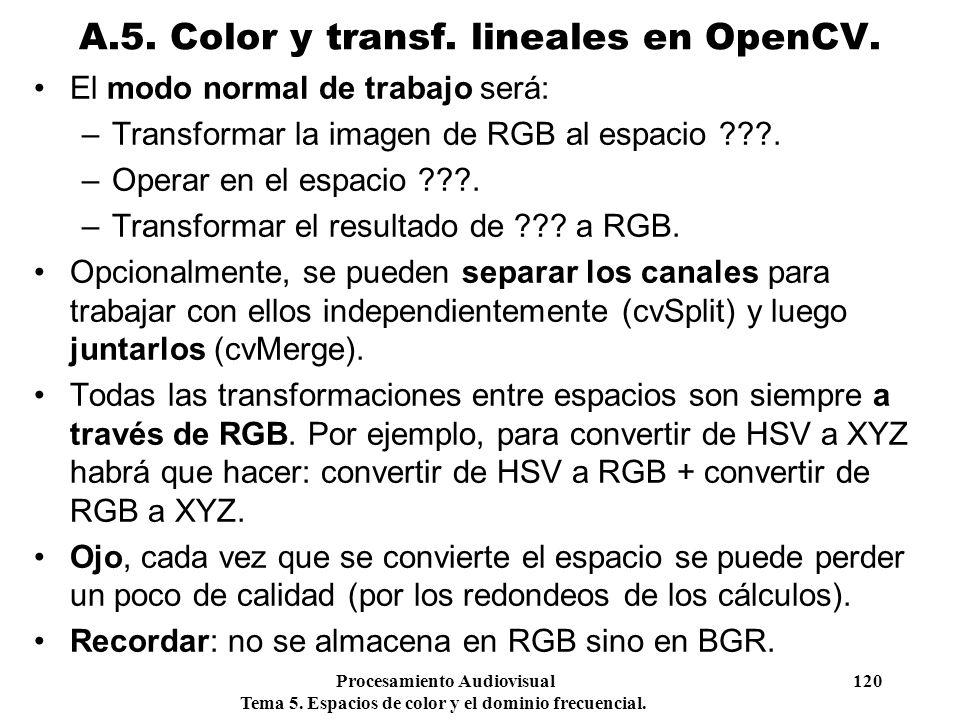 A.5. Color y transf. lineales en OpenCV.