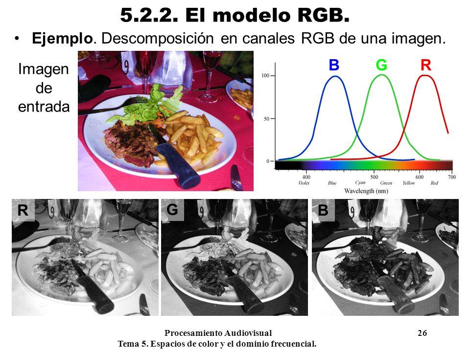 5.2.2. El modelo RGB. Ejemplo. Descomposición en canales RGB de una imagen. B. G. R. Imagen de entrada.
