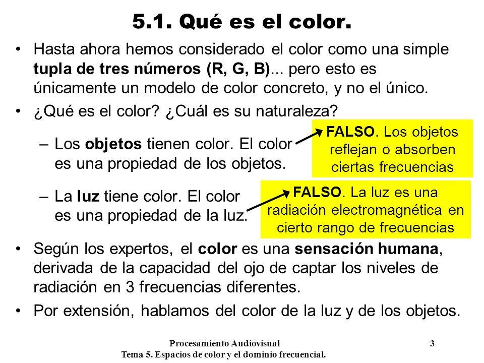 FALSO. Los objetos reflejan o absorben ciertas frecuencias