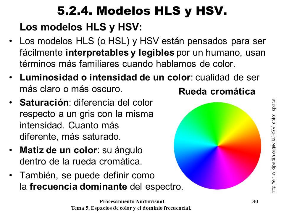 5.2.4. Modelos HLS y HSV. Los modelos HLS y HSV: