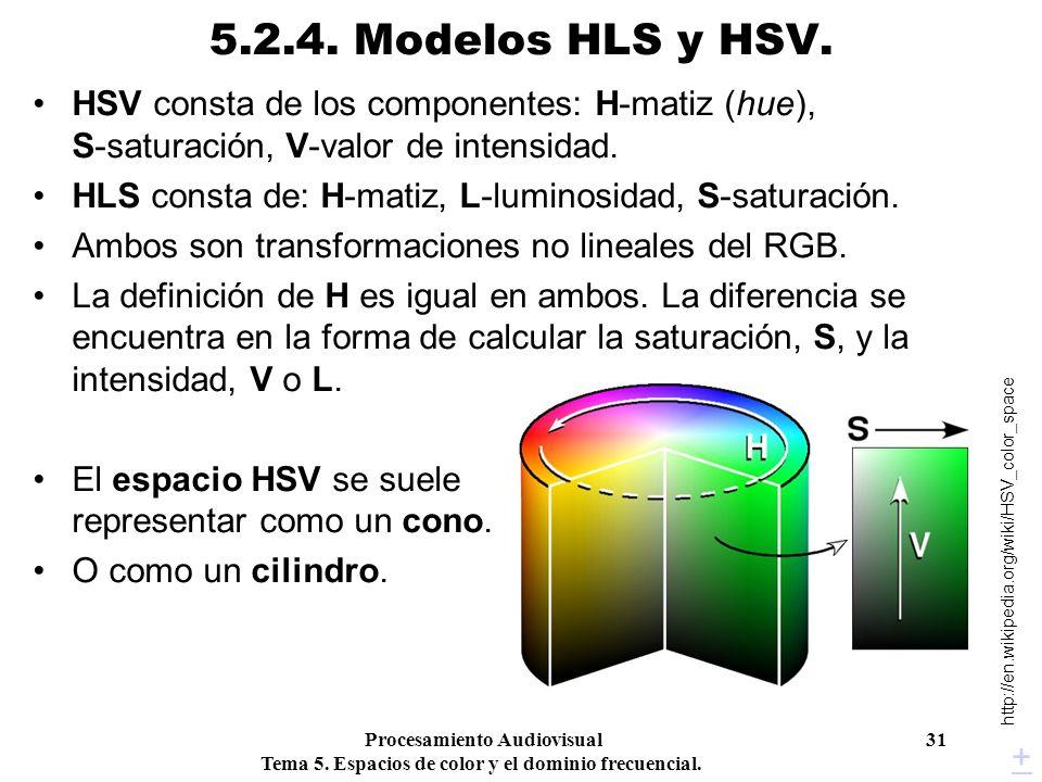 5.2.4. Modelos HLS y HSV. HSV consta de los componentes: H-matiz (hue), S-saturación, V-valor de intensidad.