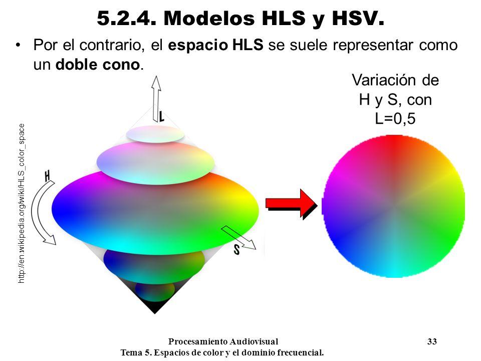 5.2.4. Modelos HLS y HSV. Por el contrario, el espacio HLS se suele representar como un doble cono.