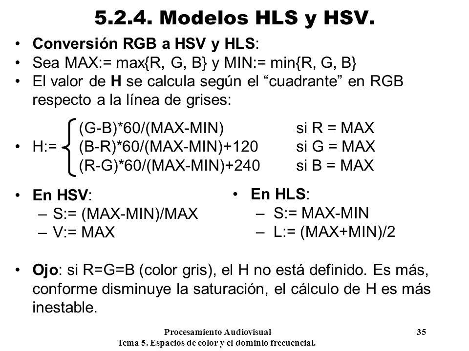 5.2.4. Modelos HLS y HSV. Conversión RGB a HSV y HLS: