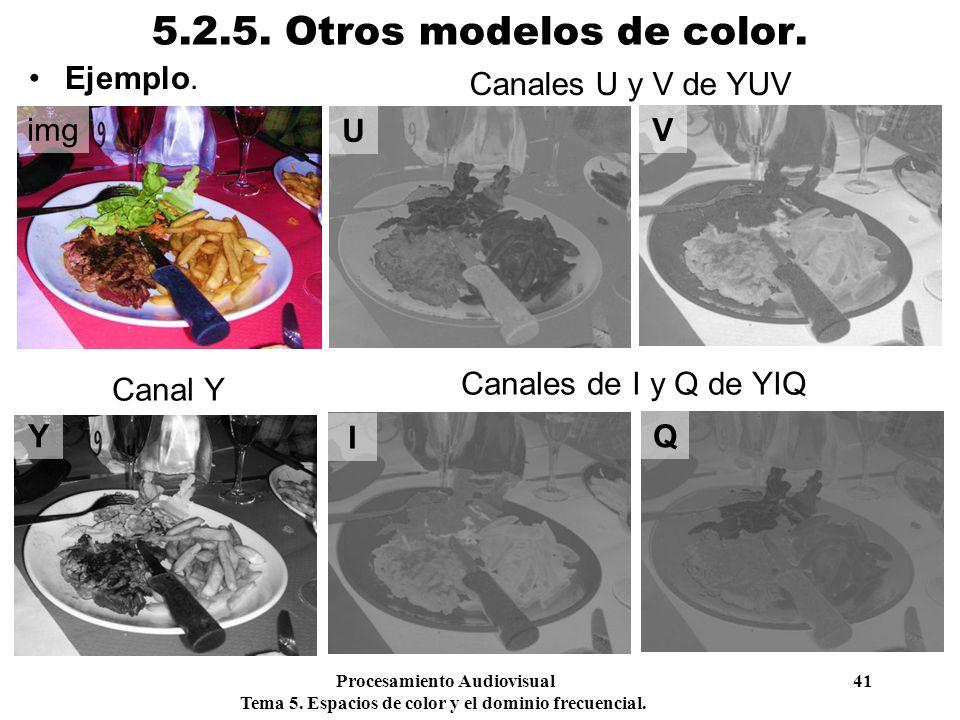 5.2.5. Otros modelos de color. Ejemplo. Canales U y V de YUV img U V