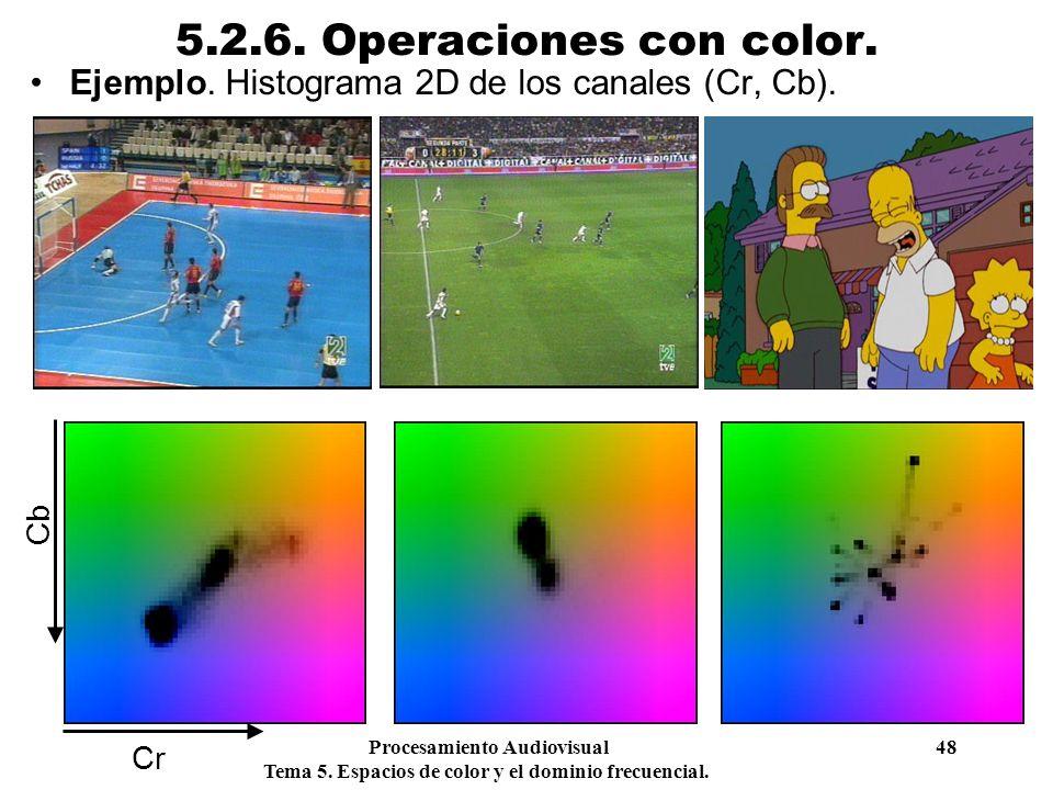 5.2.6. Operaciones con color. Ejemplo. Histograma 2D de los canales (Cr, Cb). Cb. Cr. Procesamiento Audiovisual 48.