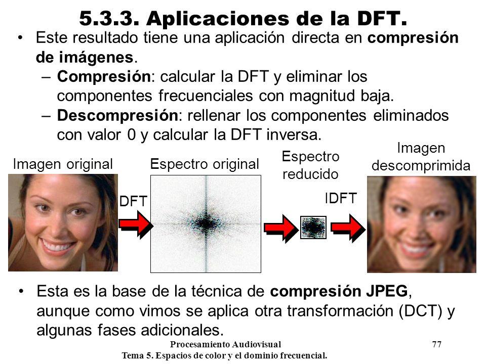 5.3.3. Aplicaciones de la DFT. Este resultado tiene una aplicación directa en compresión de imágenes.