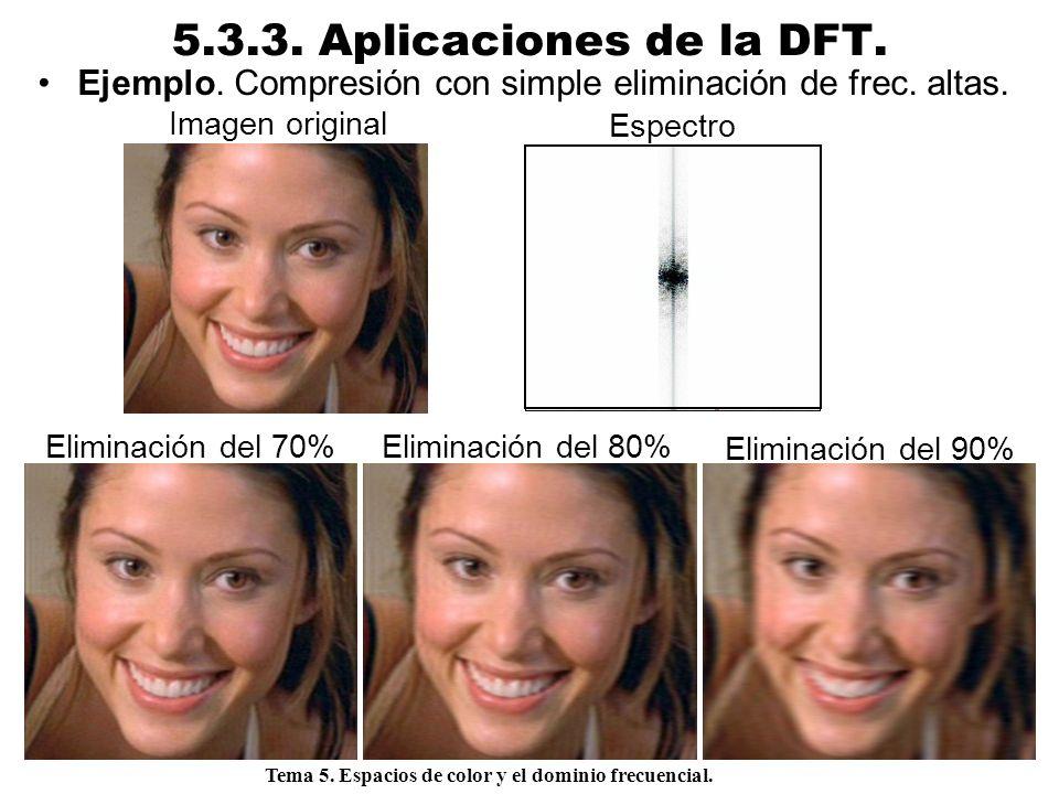 5.3.3. Aplicaciones de la DFT. Ejemplo. Compresión con simple eliminación de frec. altas. Imagen original.