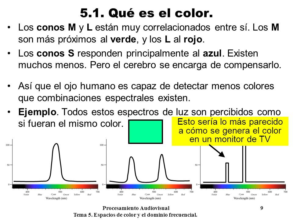 5.1. Qué es el color. Los conos M y L están muy correlacionados entre sí. Los M son más próximos al verde, y los L al rojo.