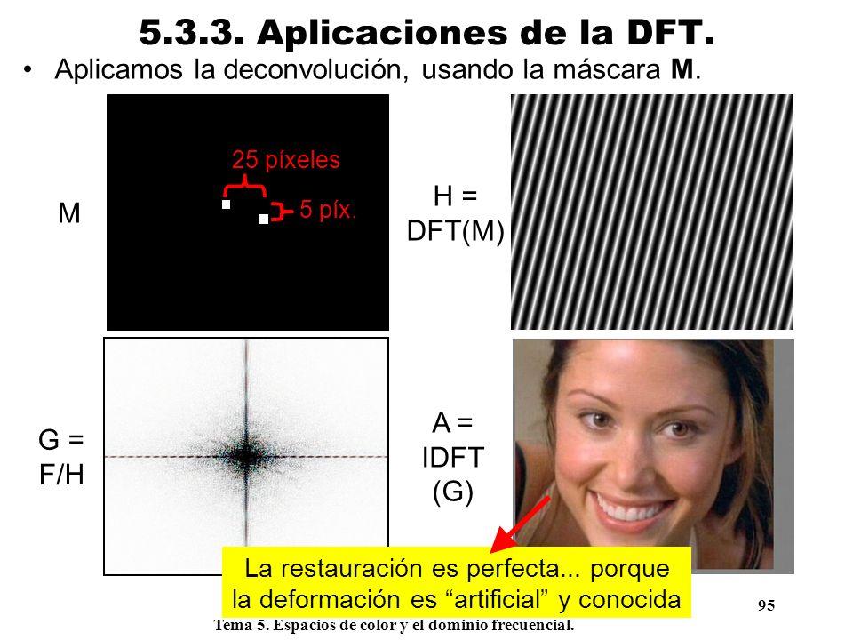 5.3.3. Aplicaciones de la DFT. Aplicamos la deconvolución, usando la máscara M. 25 píxeles. H = DFT(M)