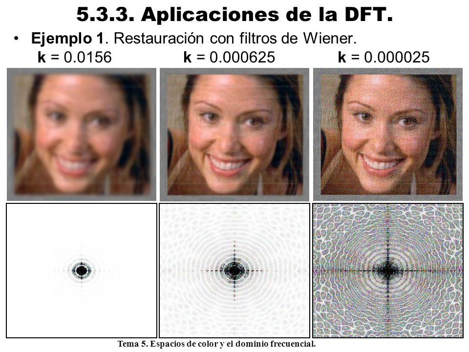 5.3.3. Aplicaciones de la DFT. Ejemplo 1. Restauración con filtros de Wiener. k = 0.0156. k = 0.000625.