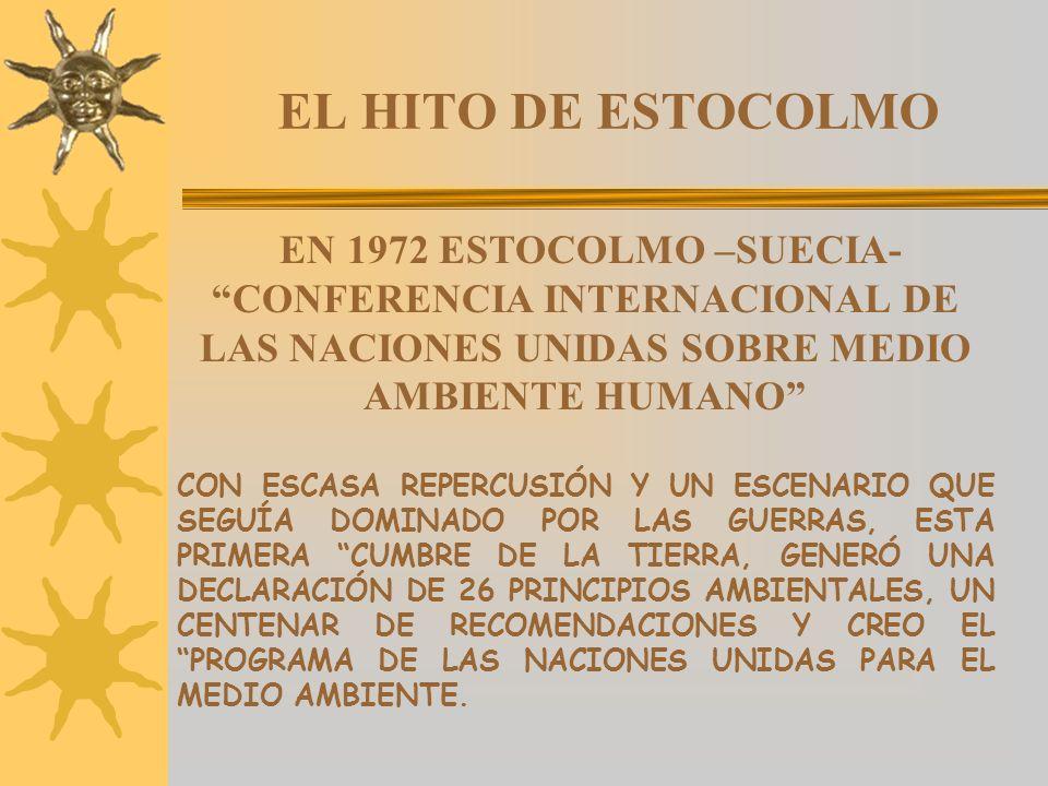 EL HITO DE ESTOCOLMO EN 1972 ESTOCOLMO –SUECIA- CONFERENCIA INTERNACIONAL DE LAS NACIONES UNIDAS SOBRE MEDIO AMBIENTE HUMANO
