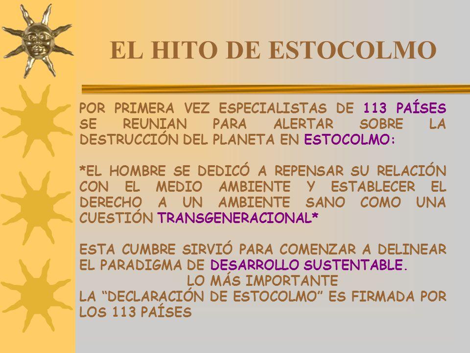 EL HITO DE ESTOCOLMO POR PRIMERA VEZ ESPECIALISTAS DE 113 PAÍSES SE REUNIAN PARA ALERTAR SOBRE LA DESTRUCCIÓN DEL PLANETA EN ESTOCOLMO: