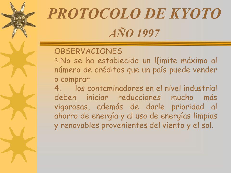 PROTOCOLO DE KYOTO AÑO 1997 OBSERVACIONES