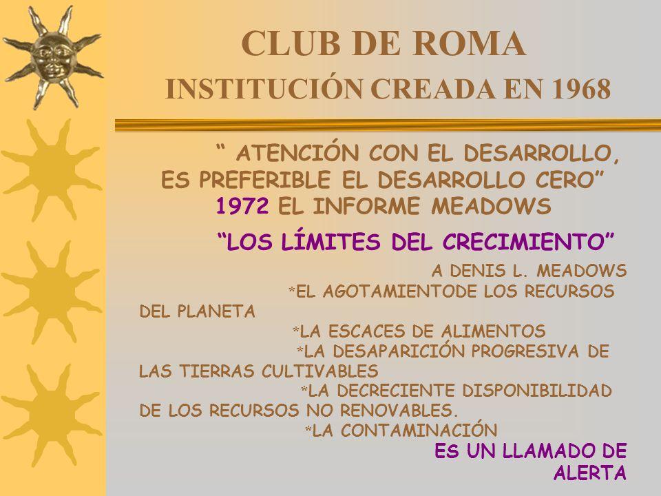 CLUB DE ROMA INSTITUCIÓN CREADA EN 1968