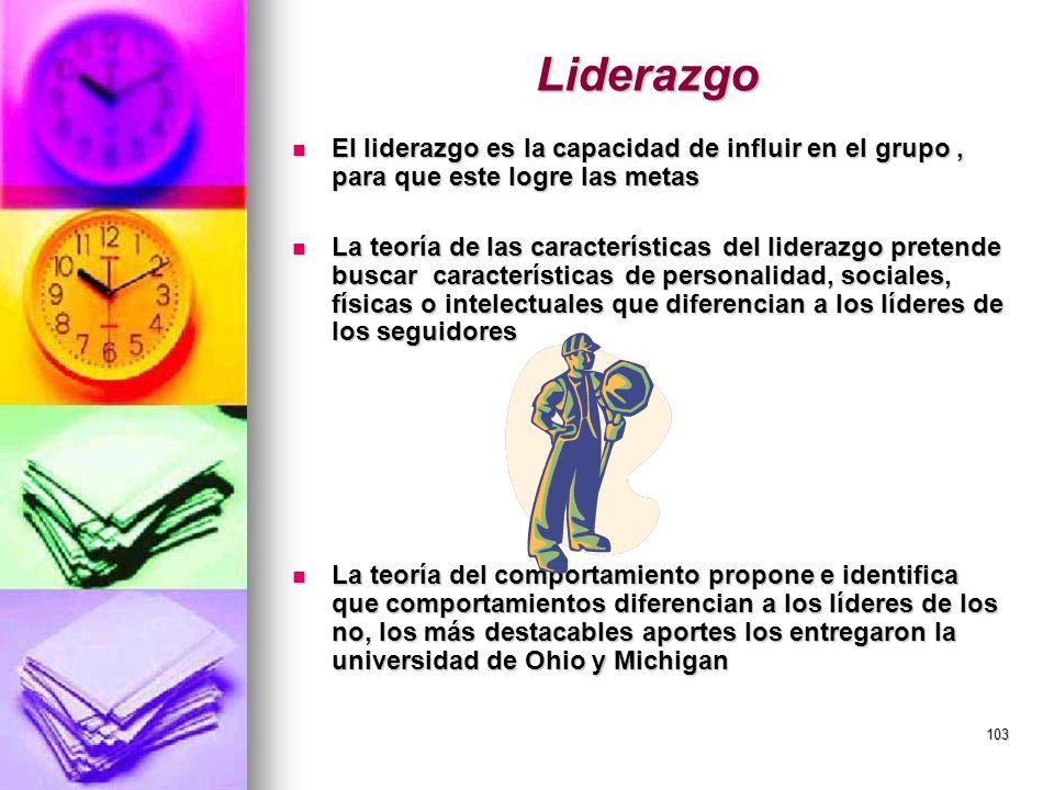 Liderazgo El liderazgo es la capacidad de influir en el grupo , para que este logre las metas.