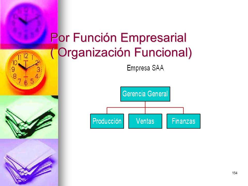 Por Función Empresarial ( Organización Funcional)