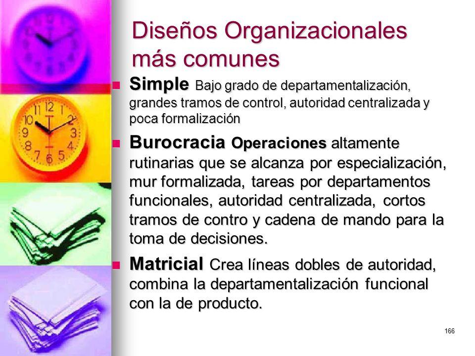 Diseños Organizacionales más comunes