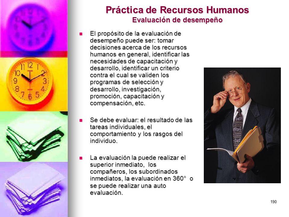 Práctica de Recursos Humanos Evaluación de desempeño