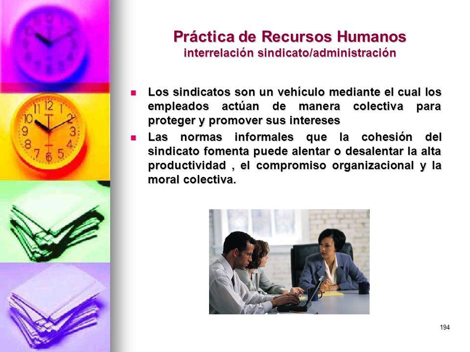 Práctica de Recursos Humanos interrelación sindicato/administración