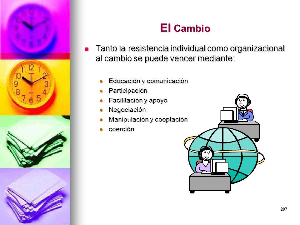 El Cambio Tanto la resistencia individual como organizacional al cambio se puede vencer mediante: Educación y comunicación.