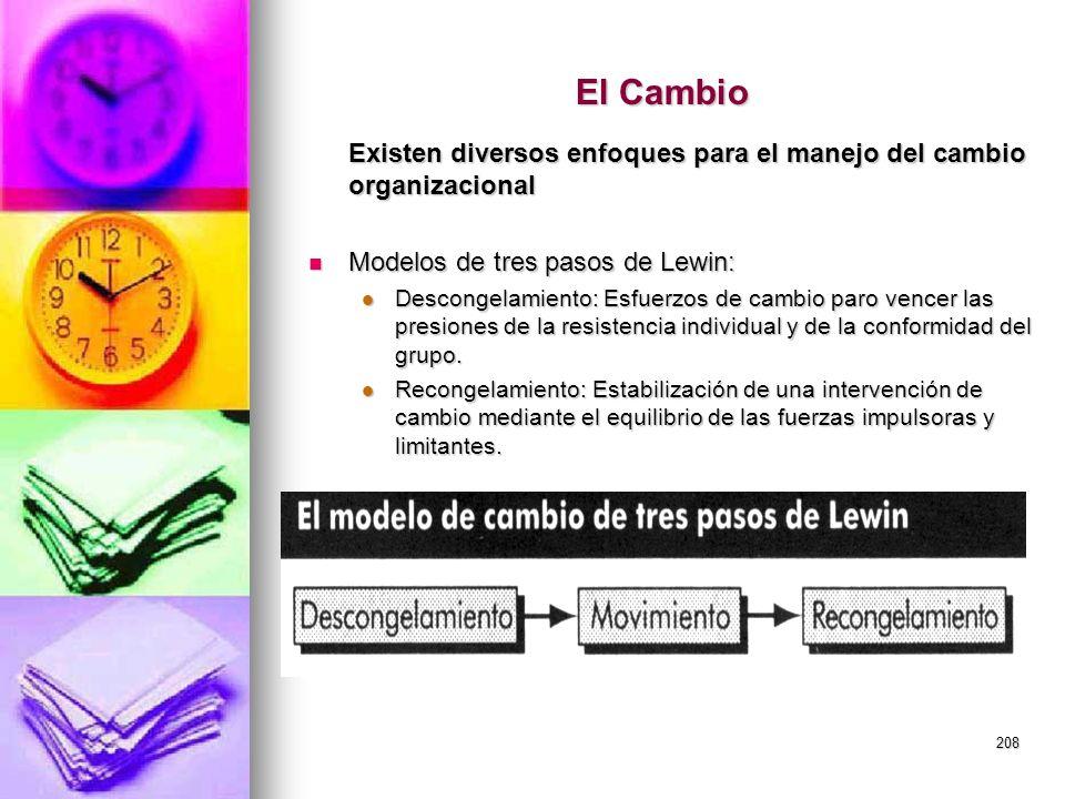 El Cambio Existen diversos enfoques para el manejo del cambio organizacional. Modelos de tres pasos de Lewin: