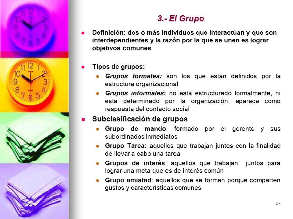 3.- El Grupo Subclasificación de grupos