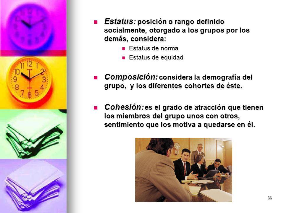 Estatus: posición o rango definido socialmente, otorgado a los grupos por los demás, considera: