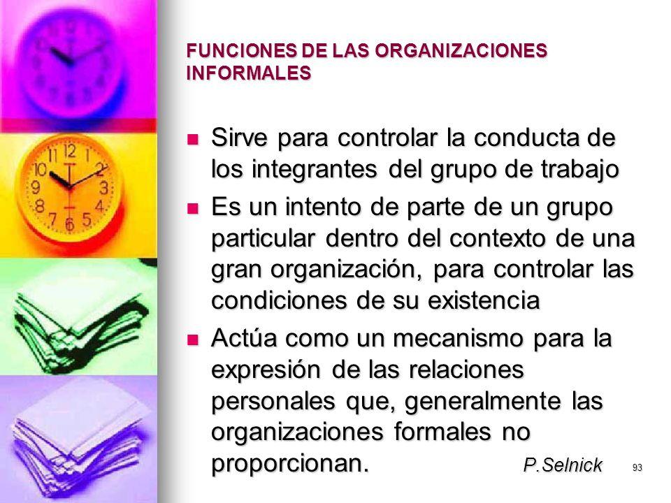FUNCIONES DE LAS ORGANIZACIONES INFORMALES
