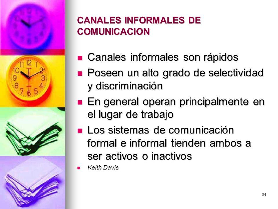 CANALES INFORMALES DE COMUNICACION