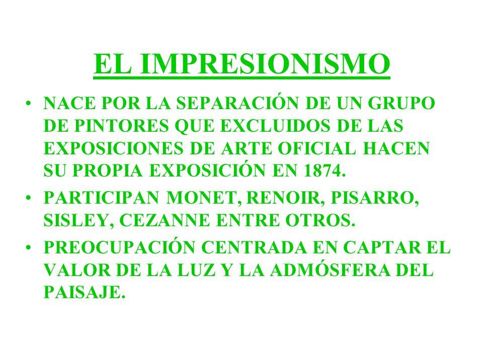 EL IMPRESIONISMO NACE POR LA SEPARACIÓN DE UN GRUPO DE PINTORES QUE EXCLUIDOS DE LAS EXPOSICIONES DE ARTE OFICIAL HACEN SU PROPIA EXPOSICIÓN EN 1874.