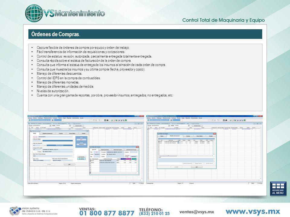 Órdenes de Compras. Captura flexible de órdenes de compra por equipo y orden de trabajo.