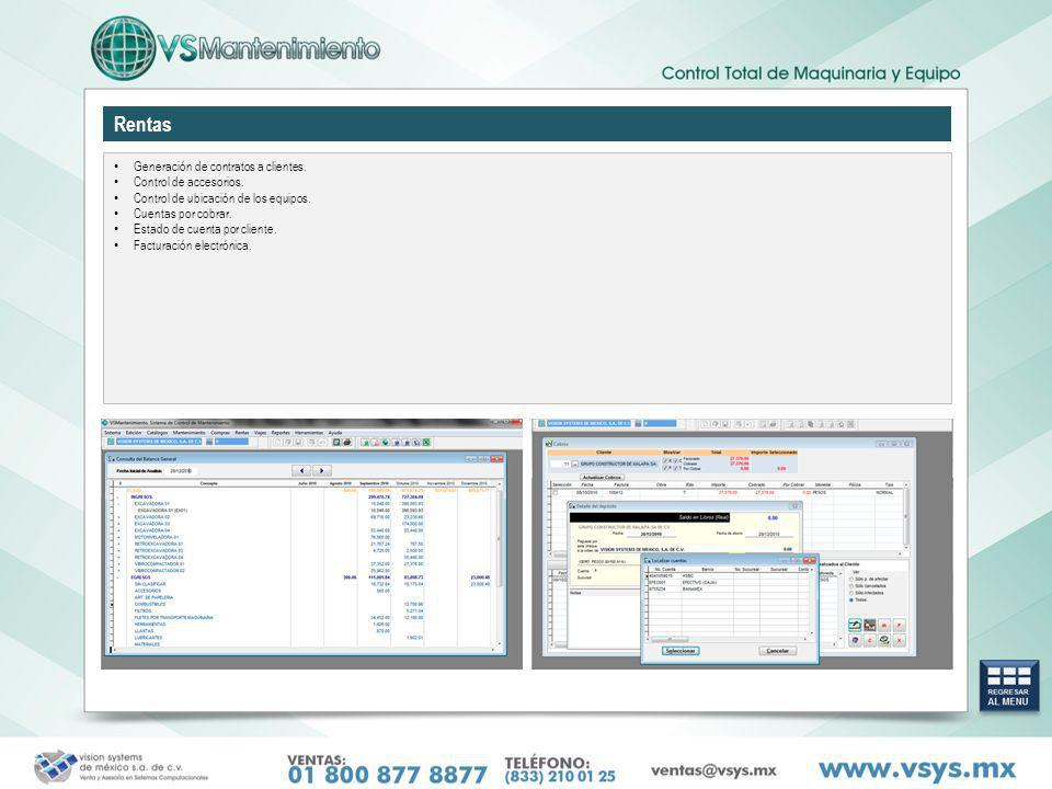 Rentas Generación de contratos a clientes. Control de accesorios.